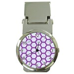 HEXAGON2 WHITE MARBLE & PURPLE DENIM (R) Money Clip Watches Front