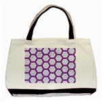 HEXAGON2 WHITE MARBLE & PURPLE DENIM (R) Basic Tote Bag Front