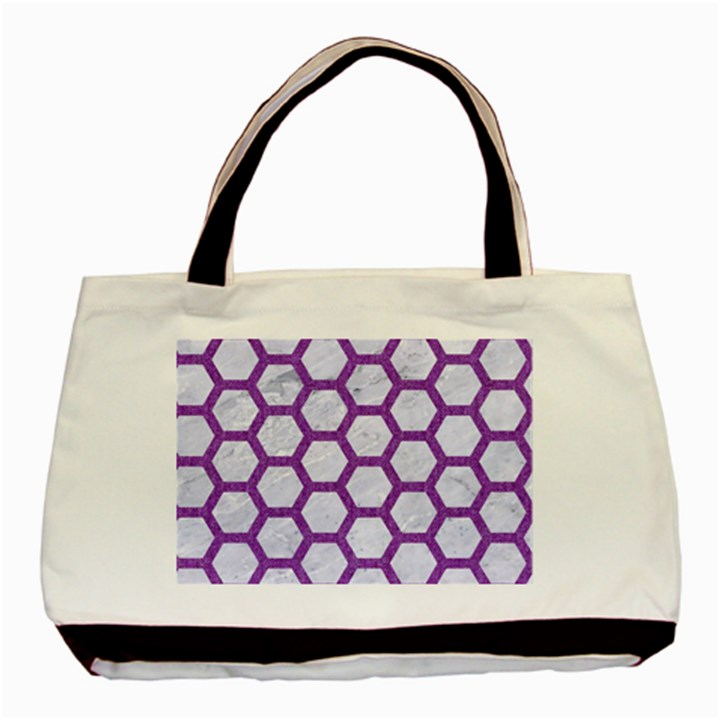 HEXAGON2 WHITE MARBLE & PURPLE DENIM (R) Basic Tote Bag