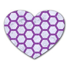 Hexagon2 White Marble & Purple Denim (r) Heart Mousepads by trendistuff