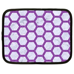 Hexagon2 White Marble & Purple Denim (r) Netbook Case (large)