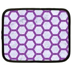 HEXAGON2 WHITE MARBLE & PURPLE DENIM (R) Netbook Case (Large) Front