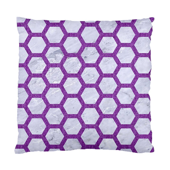 HEXAGON2 WHITE MARBLE & PURPLE DENIM (R) Standard Cushion Case (One Side)