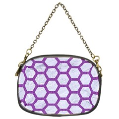 Hexagon2 White Marble & Purple Denim (r) Chain Purses (two Sides)  by trendistuff
