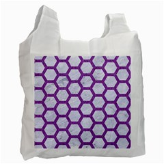 Hexagon2 White Marble & Purple Denim (r) Recycle Bag (one Side) by trendistuff