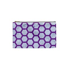 Hexagon2 White Marble & Purple Denim (r) Cosmetic Bag (small)  by trendistuff