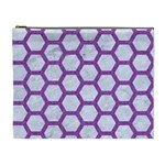 HEXAGON2 WHITE MARBLE & PURPLE DENIM (R) Cosmetic Bag (XL) Front