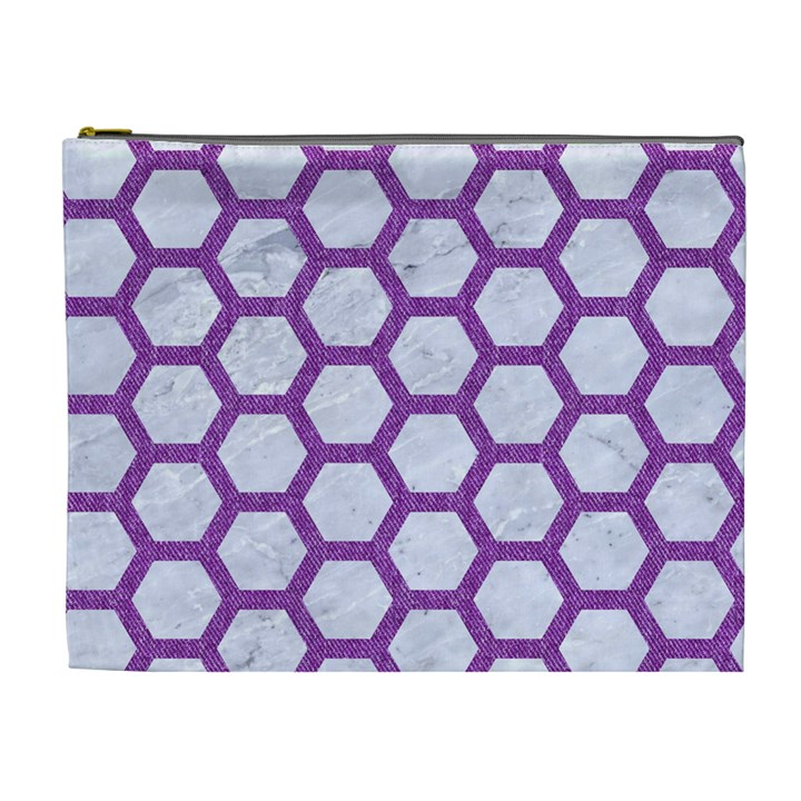HEXAGON2 WHITE MARBLE & PURPLE DENIM (R) Cosmetic Bag (XL)