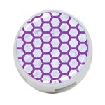 HEXAGON2 WHITE MARBLE & PURPLE DENIM (R) 4-Port USB Hub (Two Sides)  Front