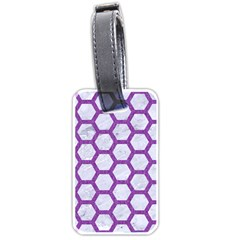 Hexagon2 White Marble & Purple Denim (r) Luggage Tags (two Sides) by trendistuff
