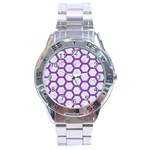 HEXAGON2 WHITE MARBLE & PURPLE DENIM (R) Stainless Steel Analogue Watch Front