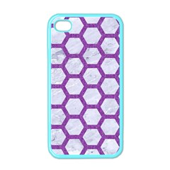 Hexagon2 White Marble & Purple Denim (r) Apple Iphone 4 Case (color) by trendistuff