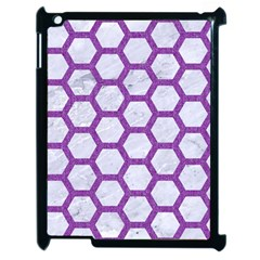 Hexagon2 White Marble & Purple Denim (r) Apple Ipad 2 Case (black) by trendistuff