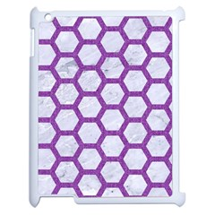 Hexagon2 White Marble & Purple Denim (r) Apple Ipad 2 Case (white) by trendistuff