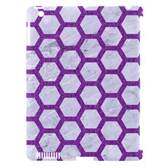 Hexagon2 White Marble & Purple Denim (r) Apple Ipad 3/4 Hardshell Case (compatible With Smart Cover)