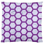 HEXAGON2 WHITE MARBLE & PURPLE DENIM (R) Large Cushion Case (Two Sides) Front