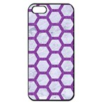 HEXAGON2 WHITE MARBLE & PURPLE DENIM (R) Apple iPhone 5 Seamless Case (Black) Front