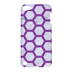 Hexagon2 White Marble & Purple Denim (r) Apple Ipod Touch 5 Hardshell Case by trendistuff