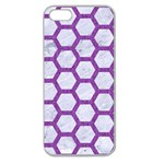 HEXAGON2 WHITE MARBLE & PURPLE DENIM (R) Apple Seamless iPhone 5 Case (Clear) Front