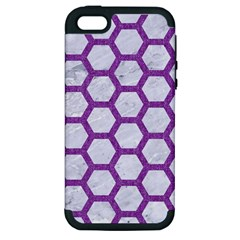 Hexagon2 White Marble & Purple Denim (r) Apple Iphone 5 Hardshell Case (pc+silicone) by trendistuff