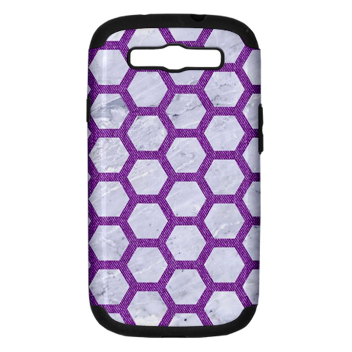 HEXAGON2 WHITE MARBLE & PURPLE DENIM (R) Samsung Galaxy S III Hardshell Case (PC+Silicone)