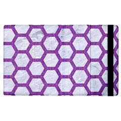 Hexagon2 White Marble & Purple Denim (r) Apple Ipad 3/4 Flip Case by trendistuff