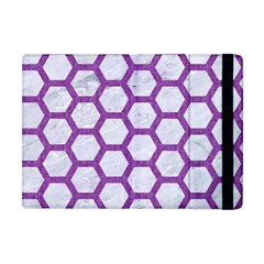 Hexagon2 White Marble & Purple Denim (r) Apple Ipad Mini Flip Case by trendistuff
