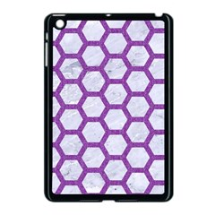 Hexagon2 White Marble & Purple Denim (r) Apple Ipad Mini Case (black) by trendistuff
