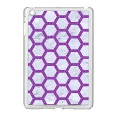 Hexagon2 White Marble & Purple Denim (r) Apple Ipad Mini Case (white) by trendistuff