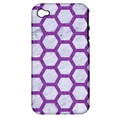 Hexagon2 White Marble & Purple Denim (r) Apple Iphone 4/4s Hardshell Case (pc+silicone) by trendistuff