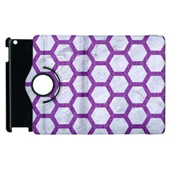 Hexagon2 White Marble & Purple Denim (r) Apple Ipad 2 Flip 360 Case by trendistuff