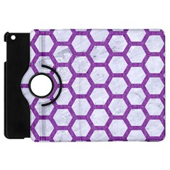 Hexagon2 White Marble & Purple Denim (r) Apple Ipad Mini Flip 360 Case