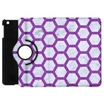 HEXAGON2 WHITE MARBLE & PURPLE DENIM (R) Apple iPad Mini Flip 360 Case Front