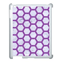 Hexagon2 White Marble & Purple Denim (r) Apple Ipad 3/4 Case (white) by trendistuff