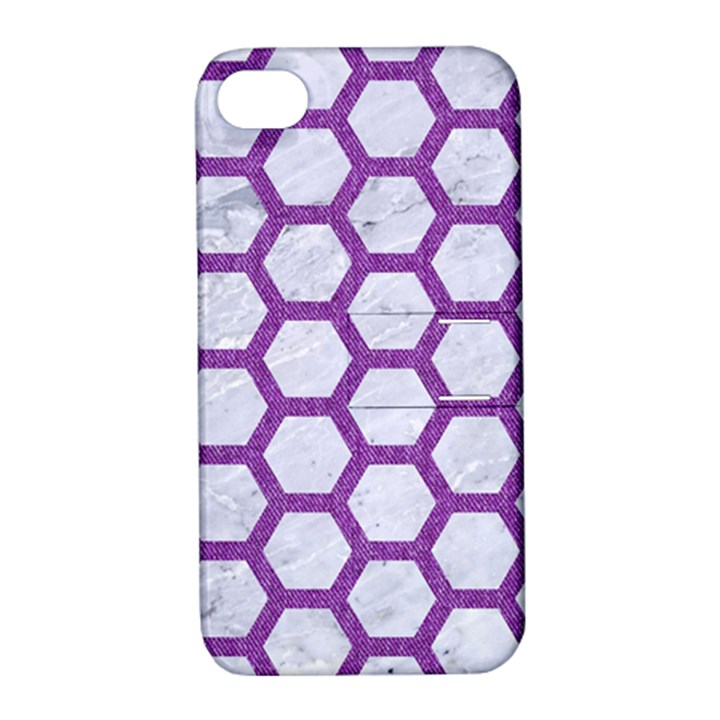 HEXAGON2 WHITE MARBLE & PURPLE DENIM (R) Apple iPhone 4/4S Hardshell Case with Stand
