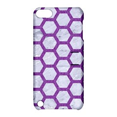 Hexagon2 White Marble & Purple Denim (r) Apple Ipod Touch 5 Hardshell Case With Stand by trendistuff