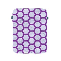 Hexagon2 White Marble & Purple Denim (r) Apple Ipad 2/3/4 Protective Soft Cases by trendistuff
