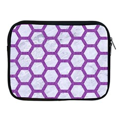 Hexagon2 White Marble & Purple Denim (r) Apple Ipad 2/3/4 Zipper Cases by trendistuff