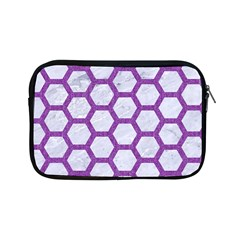 Hexagon2 White Marble & Purple Denim (r) Apple Ipad Mini Zipper Cases by trendistuff