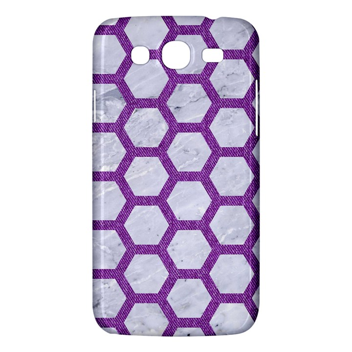 HEXAGON2 WHITE MARBLE & PURPLE DENIM (R) Samsung Galaxy Mega 5.8 I9152 Hardshell Case