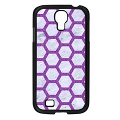 Hexagon2 White Marble & Purple Denim (r) Samsung Galaxy S4 I9500/ I9505 Case (black) by trendistuff