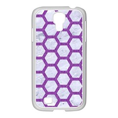 Hexagon2 White Marble & Purple Denim (r) Samsung Galaxy S4 I9500/ I9505 Case (white) by trendistuff