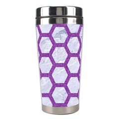 Hexagon2 White Marble & Purple Denim (r) Stainless Steel Travel Tumblers