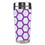 HEXAGON2 WHITE MARBLE & PURPLE DENIM (R) Stainless Steel Travel Tumblers Right