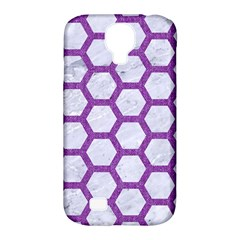 Hexagon2 White Marble & Purple Denim (r) Samsung Galaxy S4 Classic Hardshell Case (pc+silicone) by trendistuff