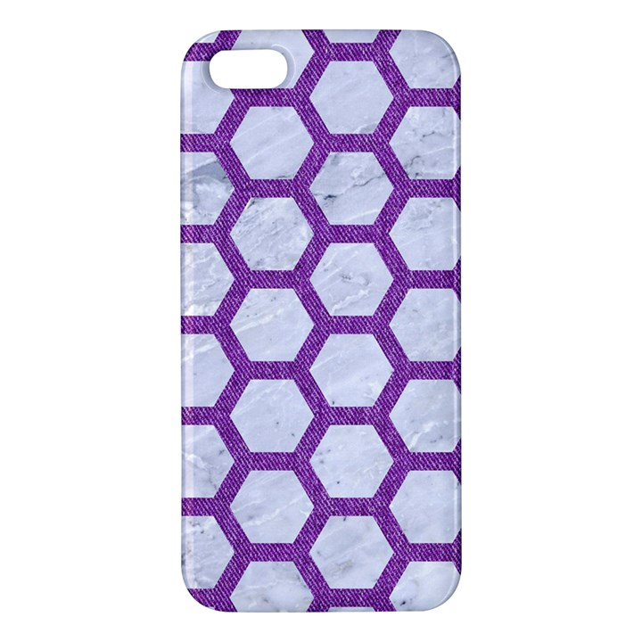 HEXAGON2 WHITE MARBLE & PURPLE DENIM (R) iPhone 5S/ SE Premium Hardshell Case