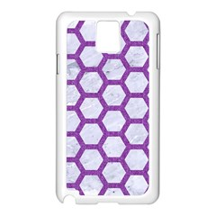 Hexagon2 White Marble & Purple Denim (r) Samsung Galaxy Note 3 N9005 Case (white) by trendistuff