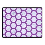 HEXAGON2 WHITE MARBLE & PURPLE DENIM (R) Double Sided Fleece Blanket (Small)  45 x34 Blanket Front