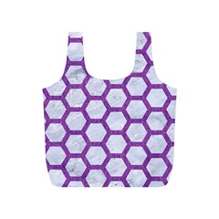 Hexagon2 White Marble & Purple Denim (r) Full Print Recycle Bags (s)  by trendistuff