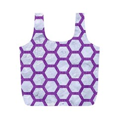 Hexagon2 White Marble & Purple Denim (r) Full Print Recycle Bags (m)  by trendistuff